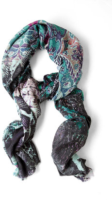 Lily & Lionel Animal Print Watermarked Cotton Blend Scarf