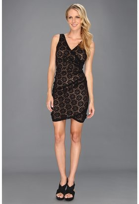 Nicole Miller Daisy Lace Fitted Dress (Black/Nude 2) - Apparel