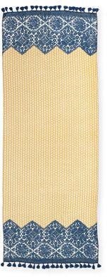 Tory Burch Crochet-Print & T Logo Scarf, Yellow/Blue