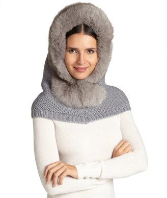 Rachel Zoe grey fox fur hooded neck warmer