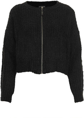 Topshop Knitted Boucle Bomber Cardi