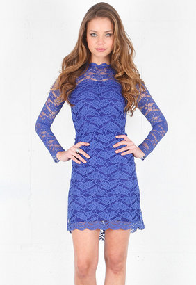 Alexis Maeve Open Back Short Lace Dress in Royal Lace -