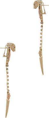 Iosselliani Cheetah's Head Antique Brass Earrings in Gold