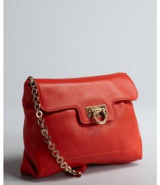 Salvatore Ferragamo lava red leather 'Amelie' small chain strap shoulder bag