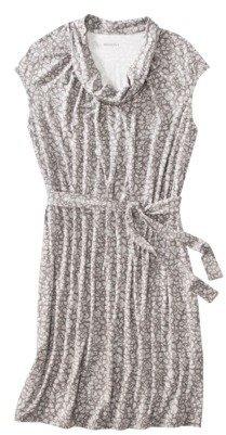 Merona Womens Plus-Size Short-Cap Sleeve Knit Dress - Gray Print
