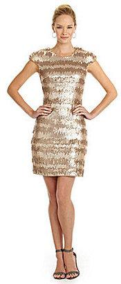 Vera Wang Faux-Leather Sequin Sheath Dress