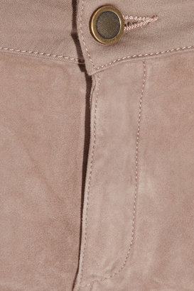 Superfine Flash Friend suede-front mid-rise skinny jeans