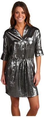 BCBGMAXAZRIA Shiny Shirt Dress (Gunmetal) - Apparel