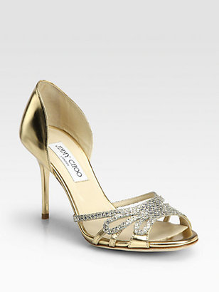 Jimmy Choo Mocha Glitter & Metallic Leather Sandals
