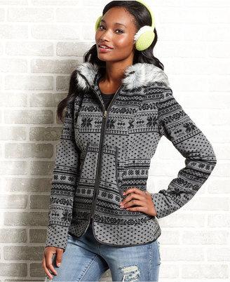 Hydraulic Juniors Jacket, Wool-Blend Hooded Fair-Isle-Print