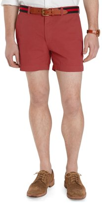 "Brooks Brothers Garment-Dyed Plain-Front 5"" Inch Twill Shorts"