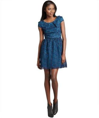 ABS by Allen Schwartz navy floral lace cap sleeve dress