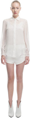 Francesco Scognamiglio Chiffon Blouse With Lace Inset