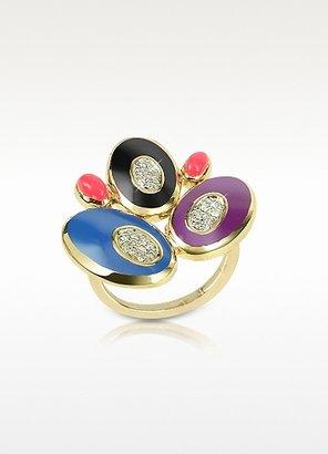Rosato 70s Oval - Diamond and Enamel 18K Gold Ring