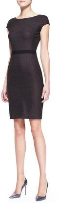 Paule Ka Cap-Sleeve Dress with Grosgrain Waist, Brown