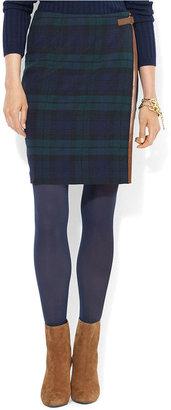 Lauren Ralph Lauren Skirt, Leather-Trim Wool