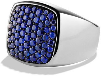 David Yurman Dvid Yurmn Pavé Signet Ring with Sapphires