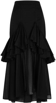 Totême Coja Ruffled-trimmed Cotton Midi Skirt