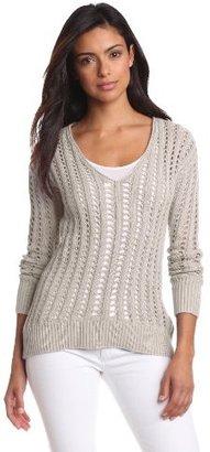 Calvin Klein Jeans Women's High/Low Hem Drop-Stitch V-Neck Sweater