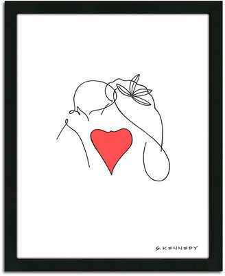 Personal Prints ''Kiss Line Drawing'' Framed Wall Art