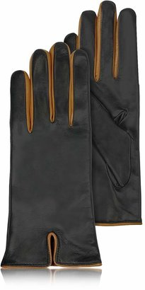 Forzieri Black & Cognac Cashmere Lined Leather Ladies' Gloves