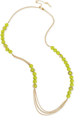 Kenneth Cole New York Necklace, Gold-Tone Lime Green Bead Long Necklace