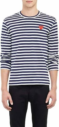 Comme des Garcons Men's Heart Striped Long-Sleeve T-Shirt - Navy