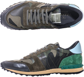 Valentino Nylon, suede and camo leather trainers