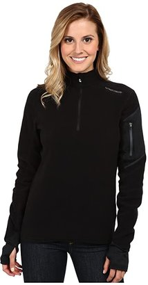 Hot Chillys La Montana Zip-T (Black/Black) Women's Long Sleeve Pullover