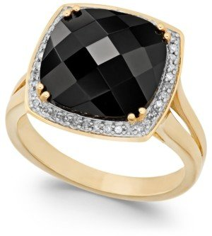 Macy's Faceted Onyx (4-1/2 ct. t.w.) and Diamond (1/5 ct. t.w.) Ring in 14k Gold
