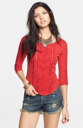Free People 'Truly Madly' Crochet Trim Tee