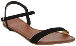 Wet Seal WetSeal Front Strap Piping Sandal Black