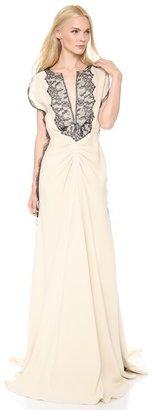 Lela Rose Flutter Sleeve Gown