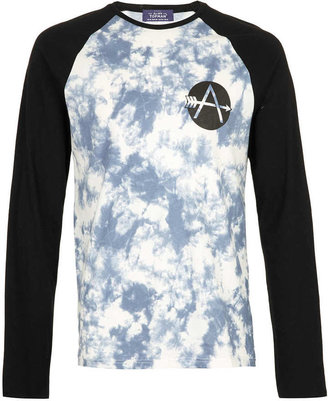 Topman Blue Tie Dye Contrast Raglan 3/4 Sleeve T-Shirt