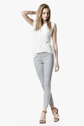 7 For All Mankind Fashion Pieced Cropped Skinny In White And Khaki