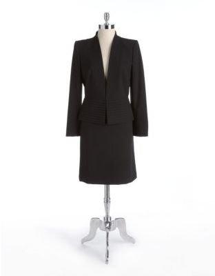 Tahari ARTHUR S. LEVINE Two-Piece Pintucked Skirt Suit