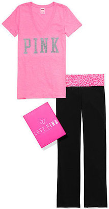 Victoria's Secret PINK V-neck Tee & Yoga Bootcut Pant Gift Set