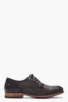Diesel Black distressed leather Wolf derby shoes