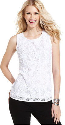 INC International Concepts Petite Top, Sleeveless Lace Shell
