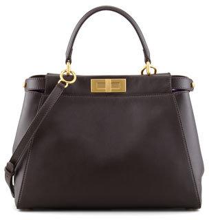 Fendi Peekaboo Leather Tote Bag, Brown/Purple