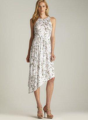 DKNY Asymmetric Hem Back Cut Out Printed Dress