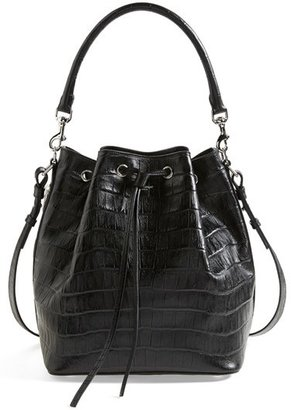 Saint Laurent 'Medium Seau' Croc Embossed Leather Bucket Bag