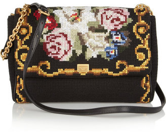 Dolce & Gabbana Miss Charles tapestry and leather shoulder bag