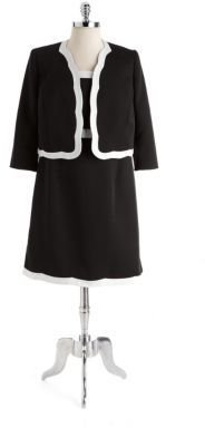 Albert Nipon Plus Faille Two-Piece Jacket Dress