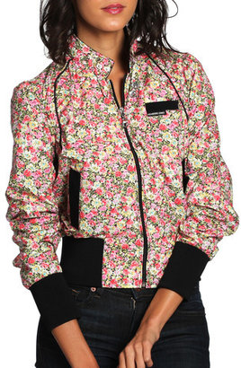 Members Only Floral Bomber Women's Red Black