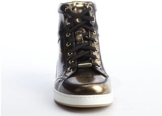Jimmy Choo Antique Gold Leather Metallic Finish Lace-Up Sneaker