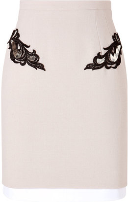 Marios Schwab Wool Pencil Skirt with Lace and Metal