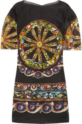 Dolce & Gabbana Printed seersucker silk-blend organza dress