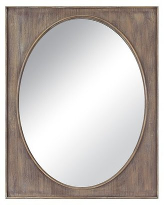 Threshold Oval in Wood Rectangle Decorative Wall Mirror Brown