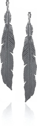 Daisy Knights Lornie oxidized silver feather earrings